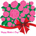 Happy mother s day background with flowers and bow on the white phone with spirals Stock Image