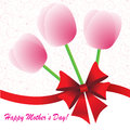 Happy mother s day background with flowers and bow on the white phone with spirals Stock Images
