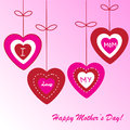 Happy mother s day background with hearts on the pink phone Stock Photos