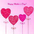 Happy mother s day background with hearts on the pink phone Royalty Free Stock Images