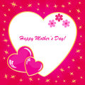 Happy mother s day background with hearts on the pink phone Royalty Free Stock Photography