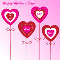 Happy mother s day background with hearts on the pink phone Stock Photography