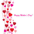 Happy mother s day background with hearts on the white phone Royalty Free Stock Image