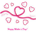Happy mother s day background with hearts on the white phone Stock Photo