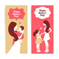 Happy mother s day banners of beautiful silhouette of and baby in vintage style Royalty Free Stock Photos