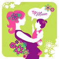 Happy mother s day card with beautiful silhouette of and baby Royalty Free Stock Photography