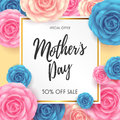 Happy Mother`s day Card layout design with Flowers background