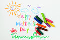 Happy mother s day child drawing of using crayon Stock Image