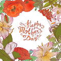 Happy Mother`s Day! Congratulation card with floral frame