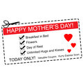 Happy mother s day coupon concept a red white and black making a great with terms such as breakfast in bed hugs kisses and more Royalty Free Stock Photo