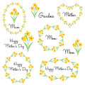 Happy mother`s day with daffodils Royalty Free Stock Photo