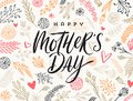 Happy mother`s day - Greeting card. Brush calligraphy on floral hand drawn pattern background.