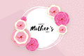 Happy Mother`s Day Greeting card. Pink Pastel Paper cut Flower. Circle Frame. Space for text. Royalty Free Stock Photo