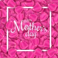 Happy Mother`s Day. Greeting card of pink rose petals. Petals of flowers. I love mother. Frame with calligraphic text. Vector ill Royalty Free Stock Photo