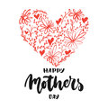 Happy Mother`s Day - hand drawn lettering phrase with red flower heart isolated on the white background. Fun brush ink inscription