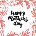 Happy Mother`s Day - hand drawn lettering phrase with red flower isolated on the white background. Fun brush ink inscription for p