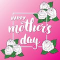 Happy Mother`s Day Hand lettering. Calligraphic sign with flowers. Holiday greeting card design vector illustration