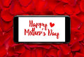 Happy mother s day message on smartphone screen Royalty Free Stock Photo