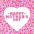 Happy Mother`s day postcard. Border with vivid hearts isolated on white background. Greeting card design template.