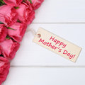 Happy mother's day with roses flowers and greeting card Royalty Free Stock Photo