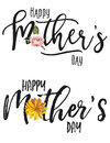 Happy mother s day set clipart with watercolor rose and sunflower Royalty Free Stock Photos