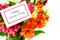 Happy mother s day tag among a bouquet of flowers Stock Image