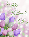 Happy Mother's day text with pink purple and white tulips and abstract bokeh background Royalty Free Stock Photo
