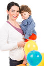 Happy mother and son with balloons holding colorful isolated on white background Royalty Free Stock Photography