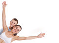 Happy mother and son are doing exercises Stock Image