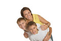 Happy mother with sons the on a white background Stock Photos