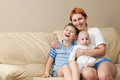 Happy mother with two children. Royalty Free Stock Photo