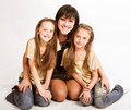 Happy mother with two daughters Royalty Free Stock Image