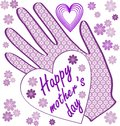 Happy mothers day billboard with small flowers and hearts. Light purple design for mothers day party