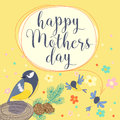 Happy mothers day With bird and flowers.