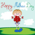 Happy mothers day card with cartoon girl and a bouquet of flower Stock Photos