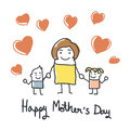 Happy mothers day card with cartoons Stock Image