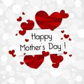 Happy mothers day card creative with hearts vector illustration Stock Images