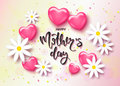 Happy Mothers day card template with cute pink heart and hamomile. It may be used for background, poster, advertising, sale, postc