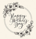 Happy mothers day card with text and frame of vintage botanical