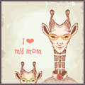 Happy mothers day cards vintage retro giraffe Royalty Free Stock Images