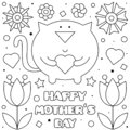 Happy Mothers Day. Coloring page. Vector illustration of cat.