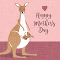Happy Mothers Day. Cute mother kangaroo with babies