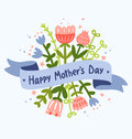 Happy mothers day floral greeting decorative composition with ribbon for text Stock Photography