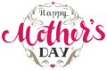 Happy Mothers Day. Handwritten lettering text for greeting card and floral ornament frame Royalty Free Stock Photo