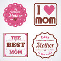 Happy Mothers Day Lettering Calligraphic Emblems and Badges Set. Vector Design Elements For Greeting Card and Other Print Template