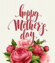 Happy Mothers Day Lettering card. Greetimng card with flower. Vector illustration