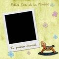 Happy mothers day love you mom in spanish photo frame sentence feliz dia de la madre te quiero mama instant yelow child Stock Photography