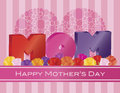 Happy mothers day mom alphabets with heart shape polka dots and roses on pink stripes pattern background illustration Stock Image