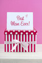 Happy Mothers Day pink and white gift with greeting card. Royalty Free Stock Photo