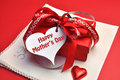 Happy Mothers Day red present with gift tag message Stock Photos